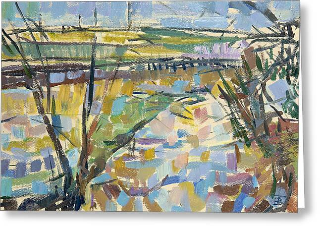 Floods Greeting Cards - The Flooded Cherwell From Rousham I Oil On Canvas Greeting Card by Erin Townsend