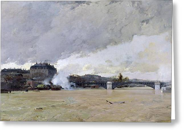 Floods Greeting Cards - The Flooding Of The Seine, C.1903 Oil On Canvas Greeting Card by Luigi Loir