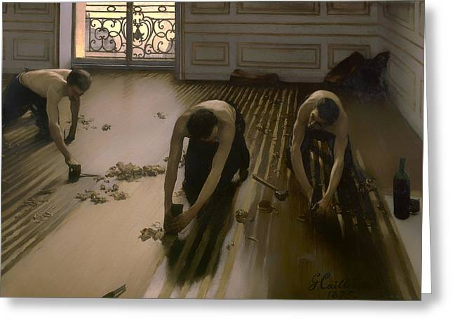Bare Chested Greeting Cards - The Floor Scrapers Greeting Card by Gustave Caillebott