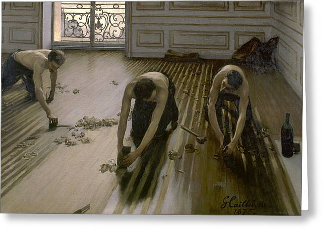 The Floor Scrapers Greeting Card by Gustave Caillebotte