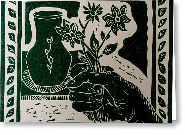 Lino Print Greeting Cards - The Florist Greeting Card by Caroline Street