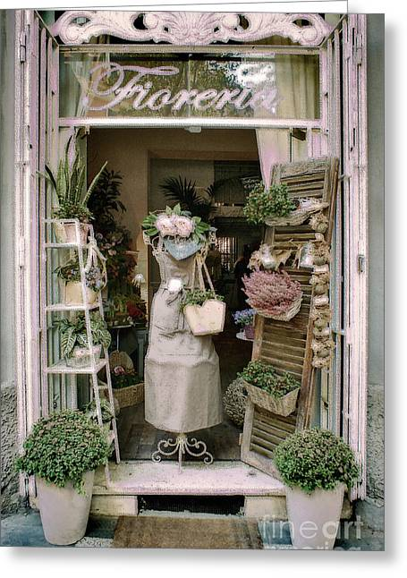 Apron Greeting Cards - The Florist Shop Greeting Card by Karen Lewis