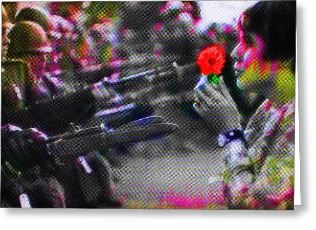 The Flower And The Bayonet Dot Pattern Red Greeting Card by Tony Rubino