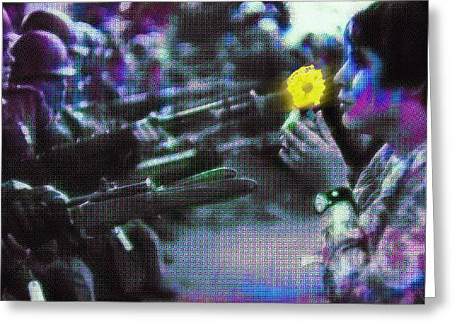Protest Mixed Media Greeting Cards - The Flower and the Bayonet Dot Pattern Yellow Greeting Card by Tony Rubino
