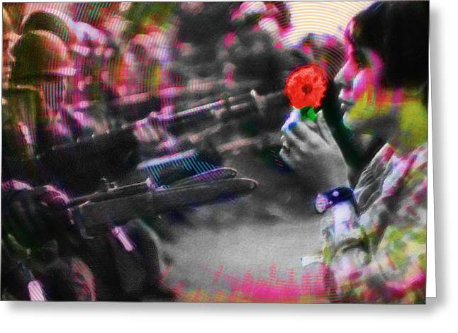 Protest Mixed Media Greeting Cards - The Flower and the Bayonet Red Greeting Card by Tony Rubino