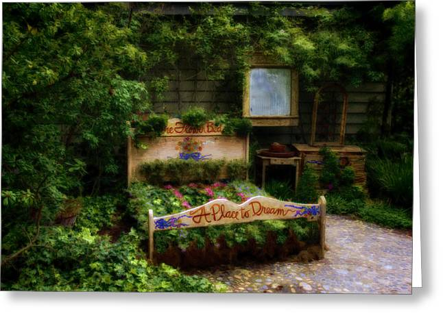 Cambria Digital Greeting Cards - The Flower Bed A Place To Dream Greeting Card by Lynn Andrews