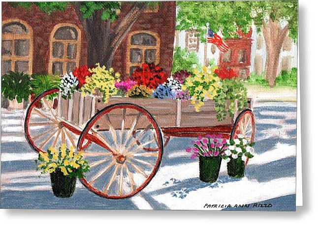 Wooden Wagons Paintings Greeting Cards - The Flower Cart Greeting Card by Patricia Ann Rizzo