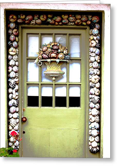Photographs Glass Greeting Cards - The Floral Door Greeting Card by Rumyana Whitcher