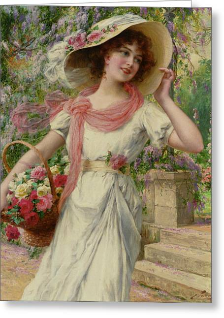 Sun Hat Digital Art Greeting Cards - The Flower Garden Greeting Card by Emile Vernon