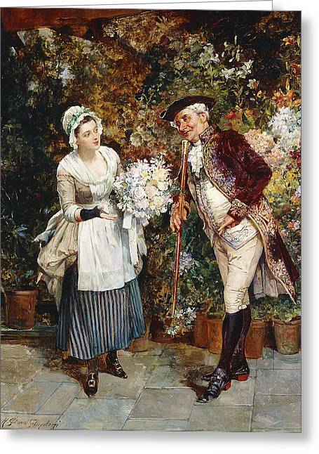 Apron Greeting Cards - The Flower Girl Greeting Card by Henry Gillard Glindoni