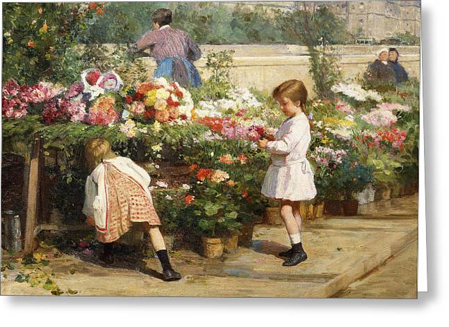For The Kids Greeting Cards - The Flower Market by the Seine Greeting Card by Victor Gabriel Gilbert