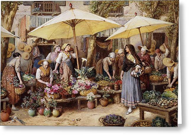 Fruit And Flowers Greeting Cards - The Flower Market Greeting Card by Myles Birket Foster