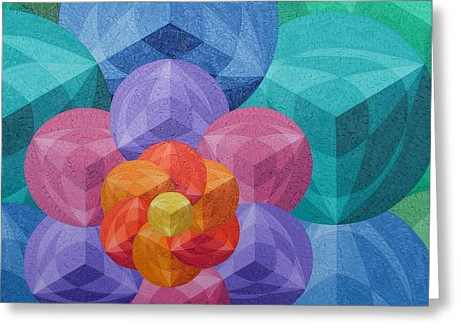 Geometric Artwork Greeting Cards - The flower of life Greeting Card by Peter Antos