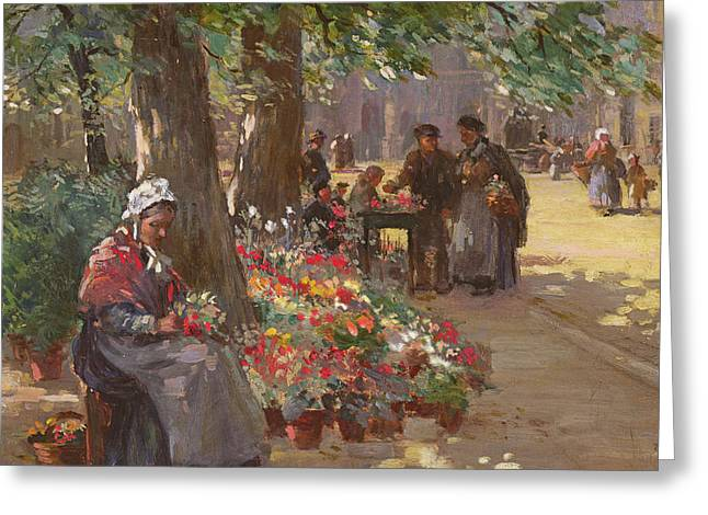 Flower Arranging Greeting Cards - The Flower Seller Greeting Card by William Kay Blacklock