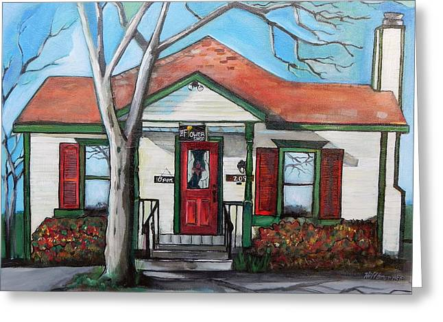 Clapboard House Paintings Greeting Cards - The Flower Shop Aledo TX Greeting Card by Julie Hiltbrunner