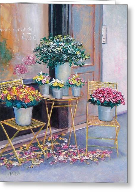 French Flower Shop Greeting Cards - The Flower Shop Paris Greeting Card by Jan Matson