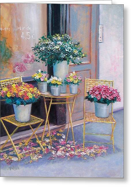 The Flower Shop Paris Greeting Card by Jan Matson
