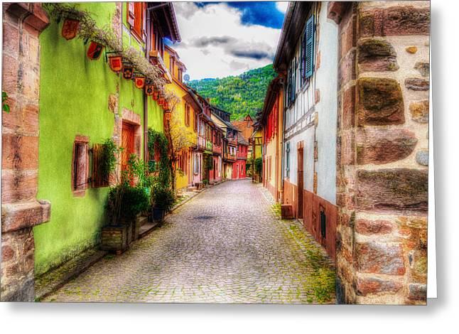 Kaysersberg Greeting Cards - The Flowering Alleyway  Greeting Card by Mountain Dreams