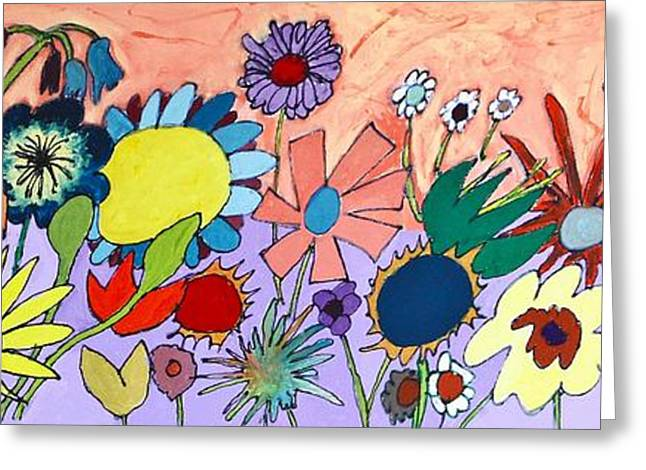 Abstract Rain Greeting Cards - The Flowers Ran Away Greeting Card by Mark Watson