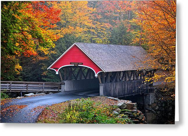 New England Village Scene Greeting Cards - The Flume Covered Bridge Greeting Card by Thomas Schoeller
