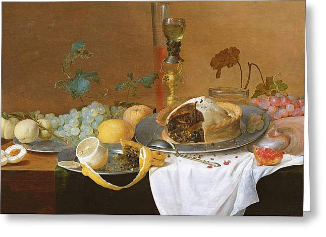Grape Print Greeting Cards - The Flute of Wine  Greeting Card by Jan Davidsz de Heem