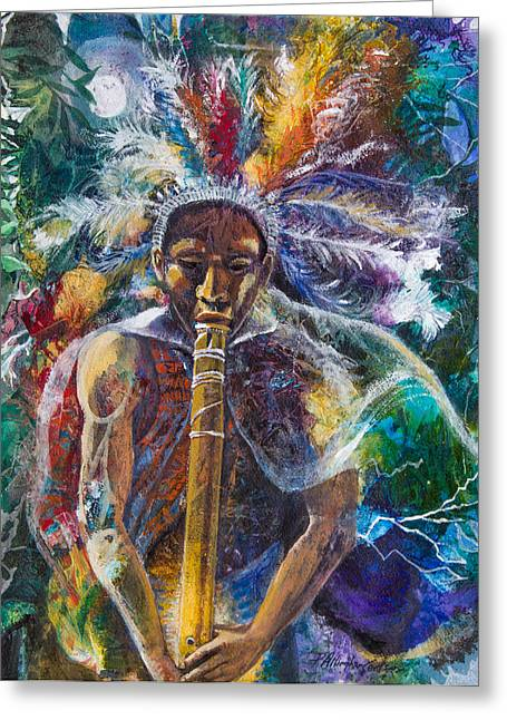 The Flute Player Greeting Card by Patricia Allingham Carlson
