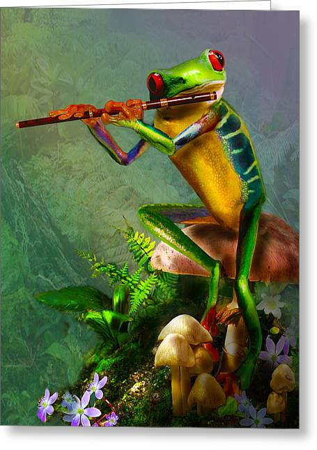 Humorous Greeting Cards Paintings Greeting Cards - Humorous Tree Frog Playing the Flute  Greeting Card by Gina Femrite