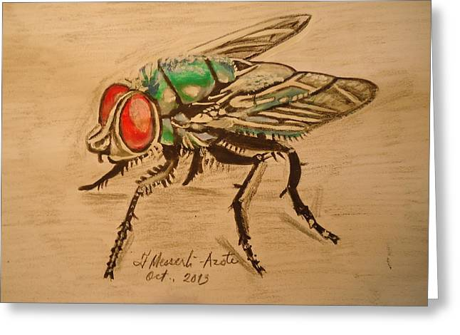 The Fly Greeting Card by Fladelita Messerli-