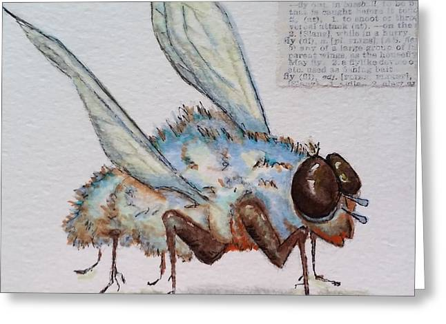 The Fly Greeting Card by Vickie Scarlett-Fisher