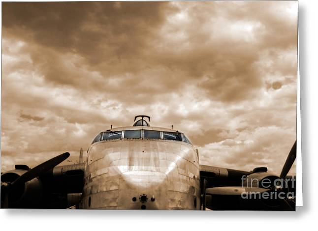 Old Aircraft Greeting Cards - The Flying Boxcar  Greeting Card by Steven  Digman