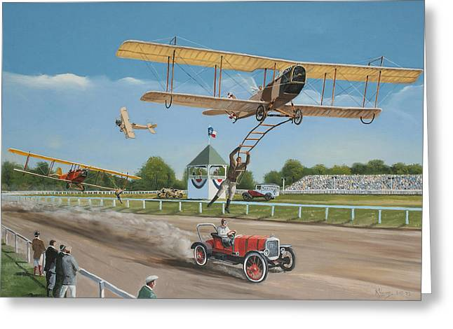 Curtiss Greeting Cards - The Flying Circus Greeting Card by Kenneth Young