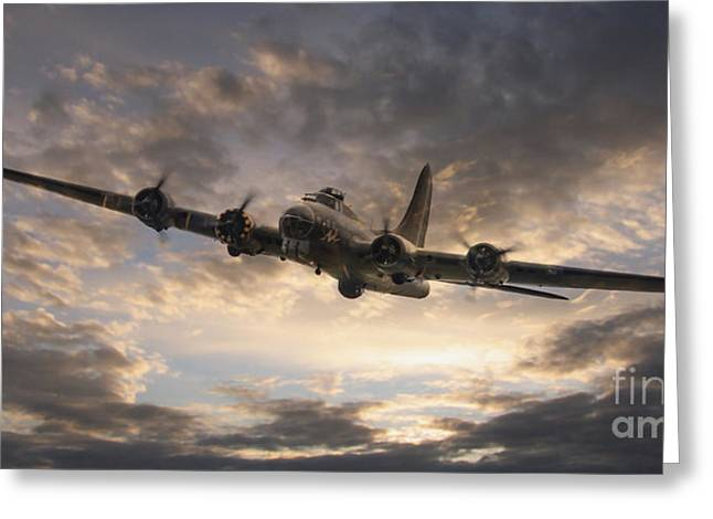 Fortress Greeting Cards - The Flying Fortress Greeting Card by J Biggadike