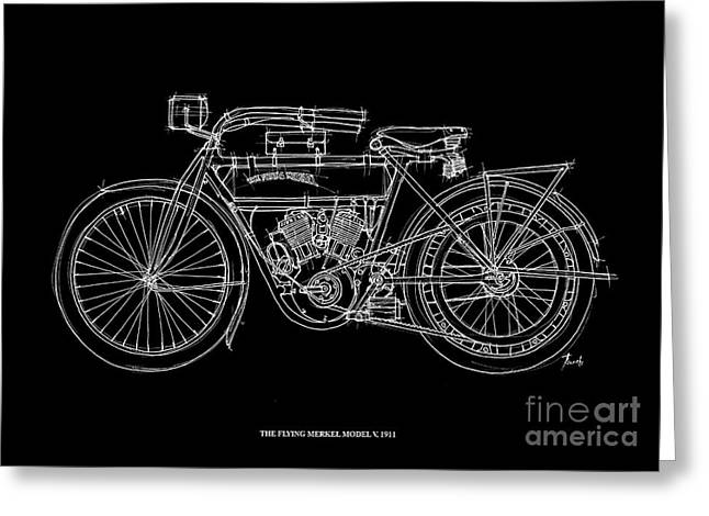 Recently Sold -  - White Drawings Greeting Cards - The Flying Merkel Model V 1911 Greeting Card by Pablo Franchi