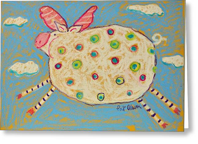 Pigs Pastels Greeting Cards - The Flying Pig Greeting Card by Pat Olson