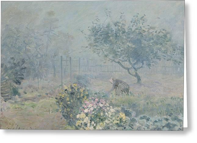 The Fog, Voisins, 1874 Greeting Card by Alfred Sisley