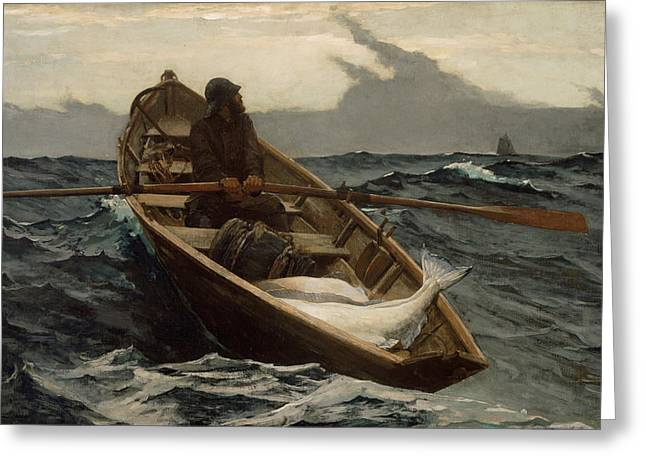 Landscape Painter Greeting Cards - The Fog Warning .Halibut Fishing Greeting Card by Winslow Homer