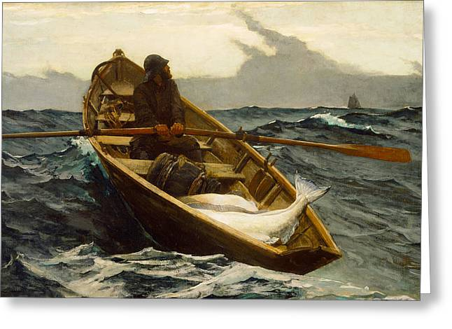 Blue Sailboat Greeting Cards - The Fog Warning Greeting Card by Winslow Homer