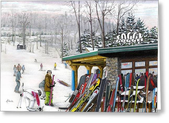 Ski Art Greeting Cards - The Foggy Goggle at Seven Springs Greeting Card by Albert Puskaric