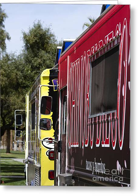 Gcc Greeting Cards - The Food truck Greeting Card by Yousif Hadaya