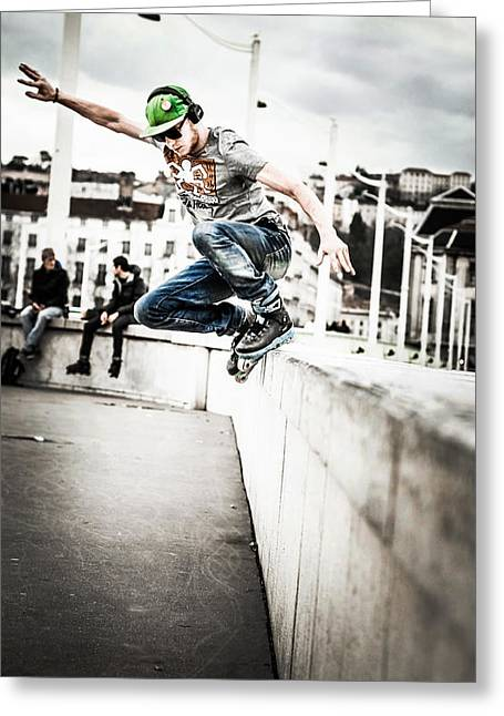 Amateur Photographer Greeting Cards - The fool roller skater Greeting Card by Stwayne Keubrick