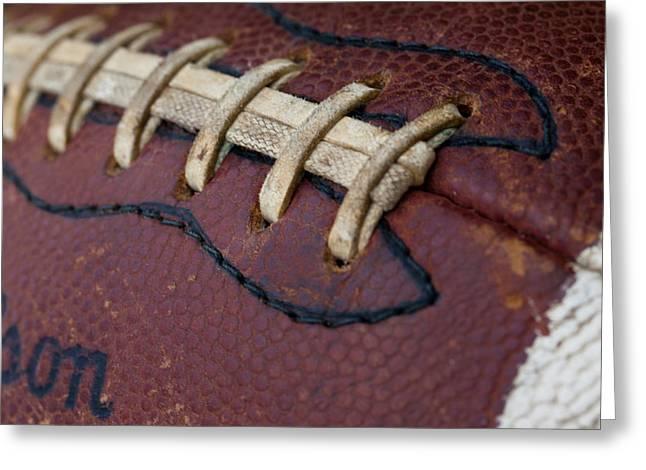 Football Closeup Greeting Cards - The Football Greeting Card by David Patterson