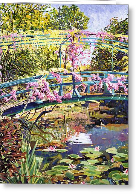 Wisteria Greeting Cards - The Footbridge At Giverny Greeting Card by David Lloyd Glover