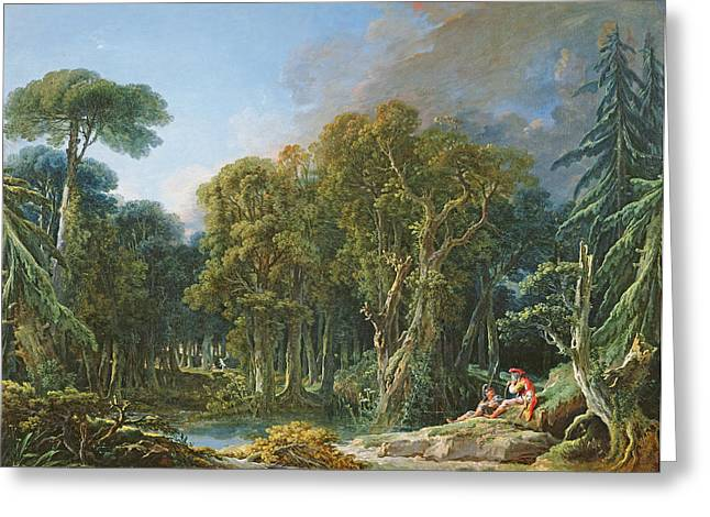 Roman Soldier Greeting Cards - The Forest, 1740 Oil On Canvas Greeting Card by Francois Boucher