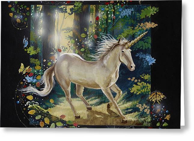 Windswept Paintings Greeting Cards - The Forest and the Unicorn Greeting Card by Bill Shelton