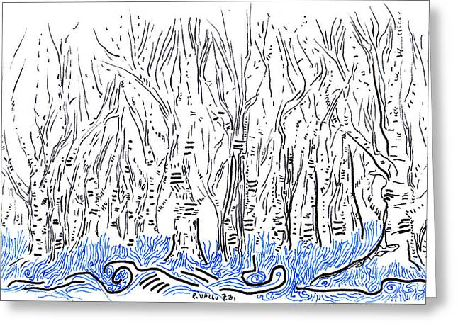 Aceo Original Drawings Greeting Cards - The forest for the Trees an ACEO Greeting Card by Regina Valluzzi