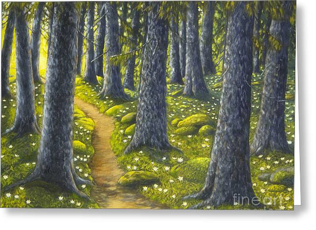 Harmonious Paintings Greeting Cards - The forest path Greeting Card by Veikko Suikkanen