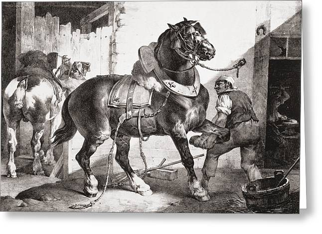 Blacksmiths Greeting Cards - The Forge, From Etudes De Cheveaux, 1822 Greeting Card by Theodore Gericault