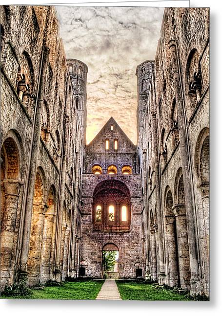 Medieval Temple Greeting Cards - The forgotten Abbey 3 Greeting Card by Weston Westmoreland