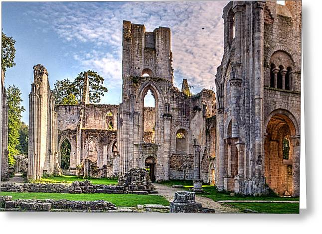 Medieval Temple Greeting Cards - The forgotten Abbey 5 Greeting Card by Weston Westmoreland