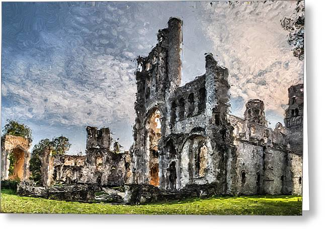 Medieval Temple Greeting Cards - The forgotten Abbey - Painitng Greeting Card by Weston Westmoreland